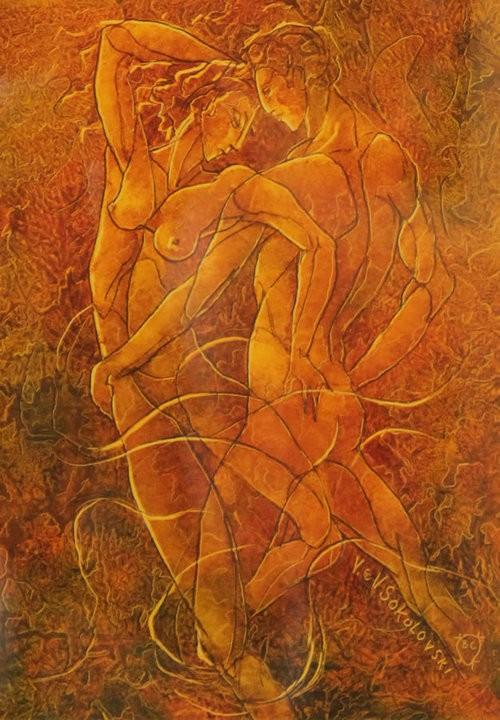 Valeri Sokolovski The Tango Series I Original Oil on Paper 12x9