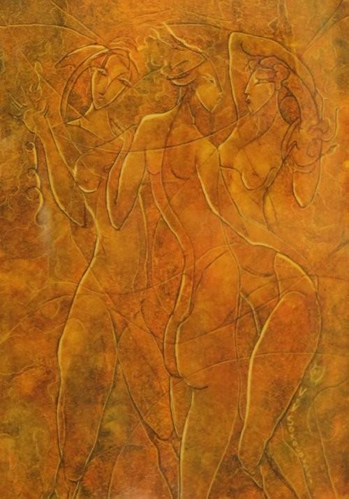 Valeri Sokolovski The Tango Series II Original Oil on Paper 12x9
