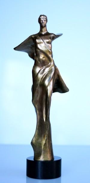 "Rudolf Sokolovski-Wings Of God-Polished Bronze Black Granite Base 17"""