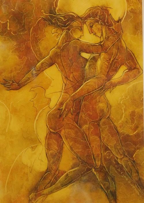 Valeri Sokolovski The Tango Series IV Original Oil on Paper 12x9