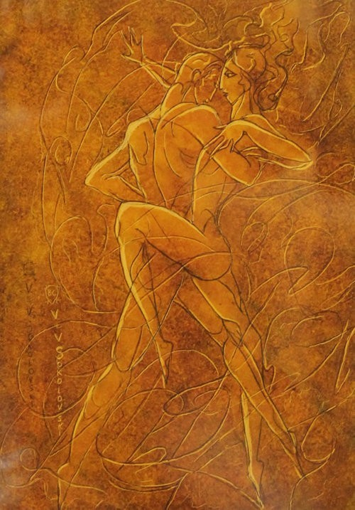 Valeri Sokolovski The Tango Series V Original Oil on Paper 12x9