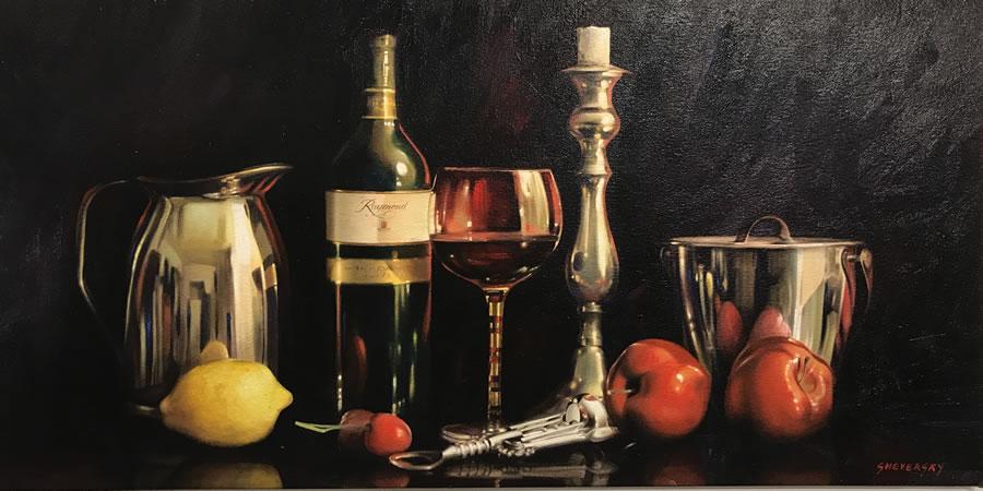 ALexander Sheversky Still Life with Wine Original Oil 24X48