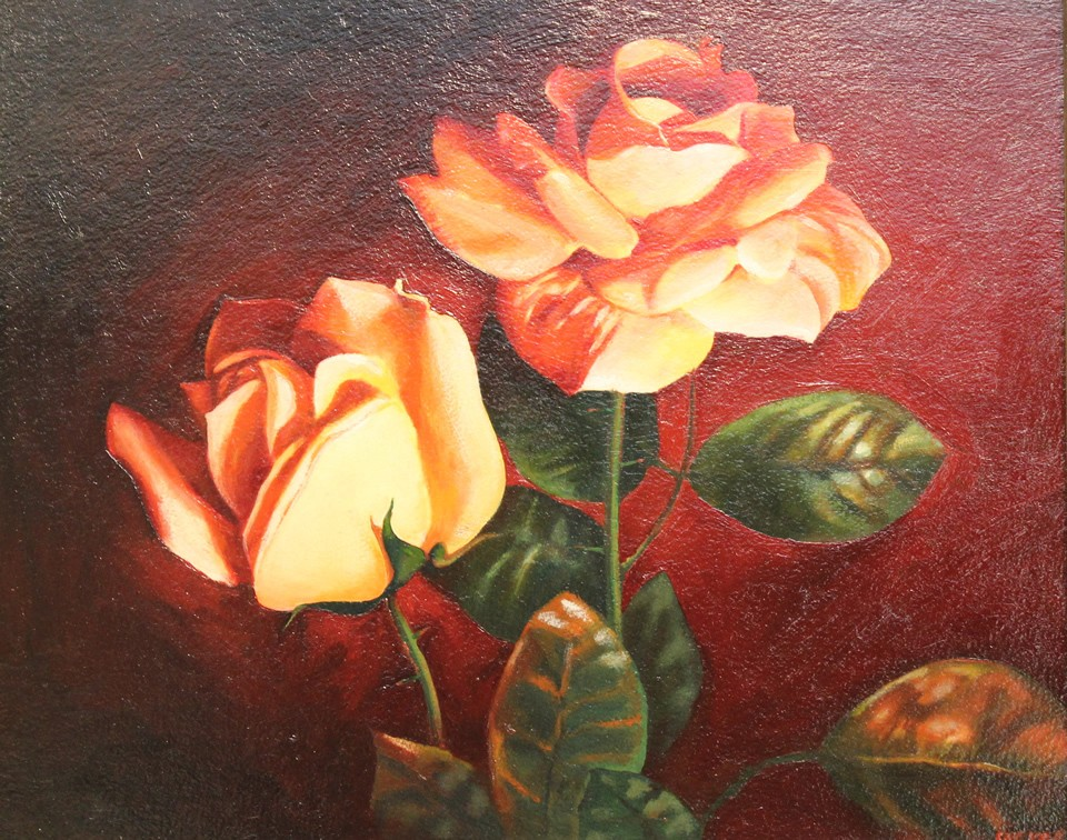Alexander Sheversky- Roses are Red Original Oil Painting16x20