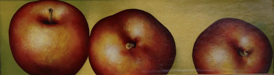 Alexander Sheversky 3 Apples Original Oil 9x31
