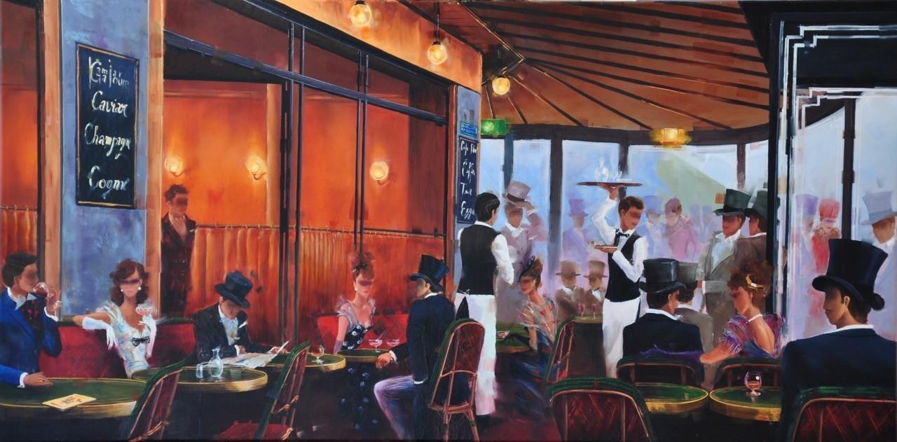 Contemporary Canadian Painter Kamiar Gajoum Cafe De Flore Ambiance 18X36 Original Oil