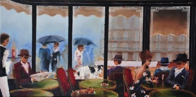 Contemporary Canadian Painter Kamari Gajoum Cafe De Flore Apres Midi 18X36.