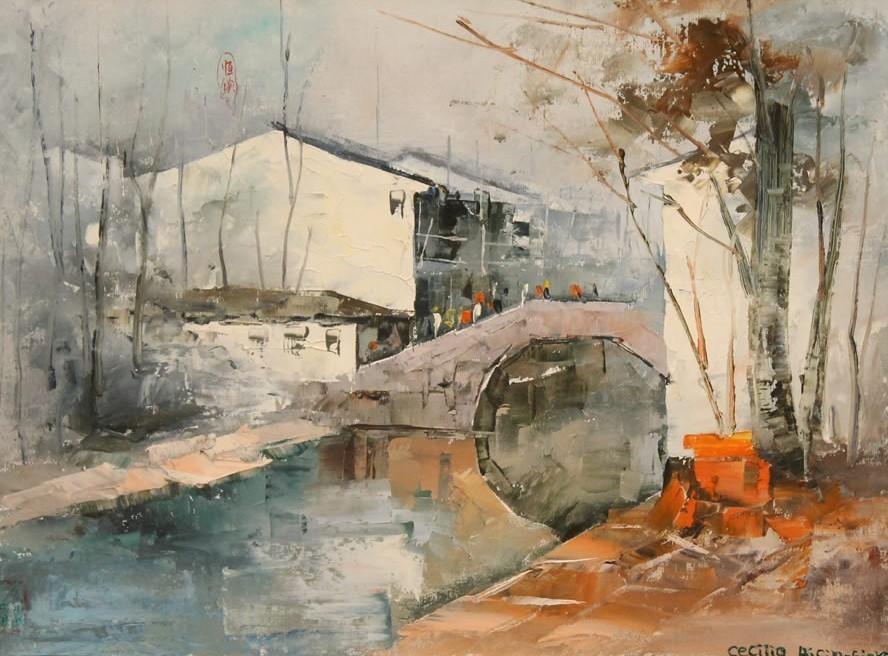 Cecilia Aisian-Gioro-The Water Town 2-Original Oil-17x21