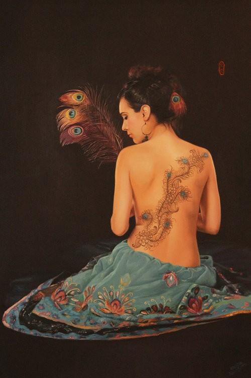 Cecilia Aisin-Gioro Peacock Fantasy Original Oil 59X32