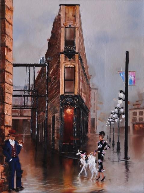Contemporary Canadian Painter Kamiar Gajoum Cordova Gastown12X16 Original Oil