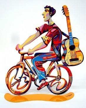 David Gerstein Rider Troubadour Sculpture 13x14 inches