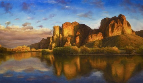 Contemporary Canadian Painter David Shepherd Rising Original Oil.28X50