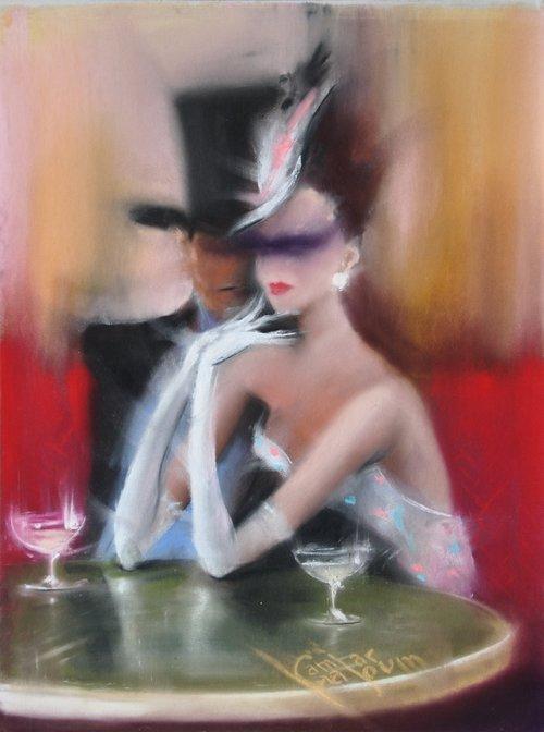 Contemporary Canadian Painter Kamiar Gajoum Elegant Couple at Cafe De Flore 18.5X22.5