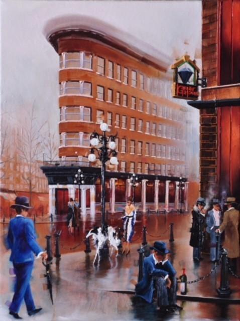 Contemporary Canadian Painter Kamiar Gajoum Gastown Ambiance 12X16 Original Oil