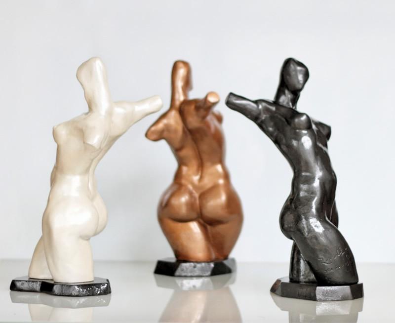 "Rudolf Sokolovski Havana Nights Triplet Pearl White Midnight Black & Bronze Cast Stone 14"""