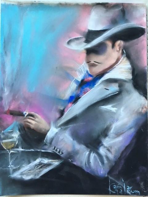 Contemporary Canadian Painter Kamiar Gajoum Jaime Cigar 22x19 Original Pastel