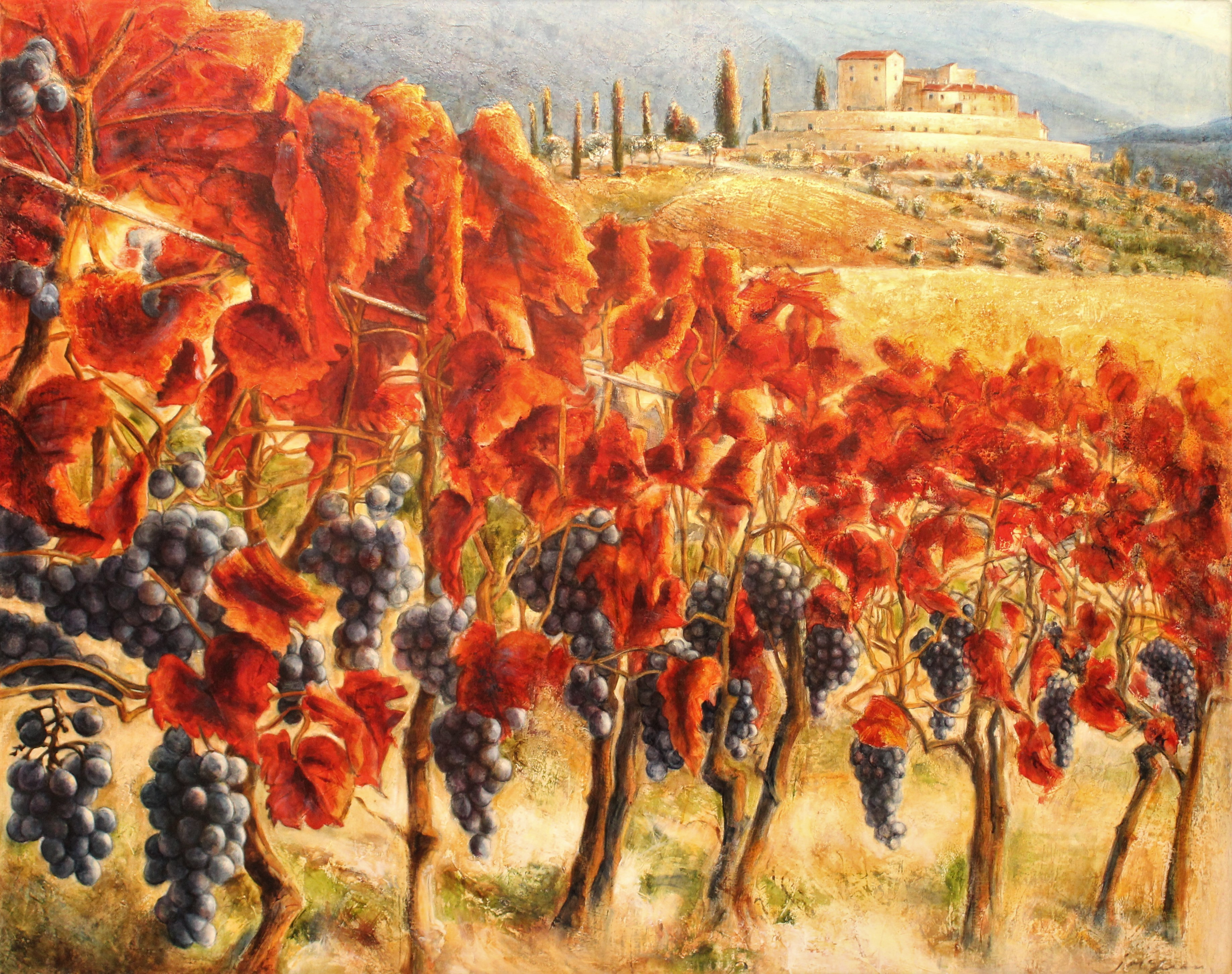 Montalcino Val Di Orcia Mixed Media Painting 48x60 by Contemporary Canadian Painter Janice Mclean