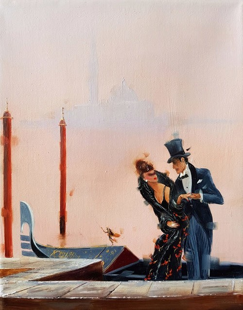 Kamiar Gajoum An Evening In Venice Original Oil 10x8