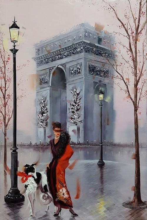 Kamiar+Gajoum.+Arc+De+Triomphe+Pose.+Original+Oil.+10.5X16.5