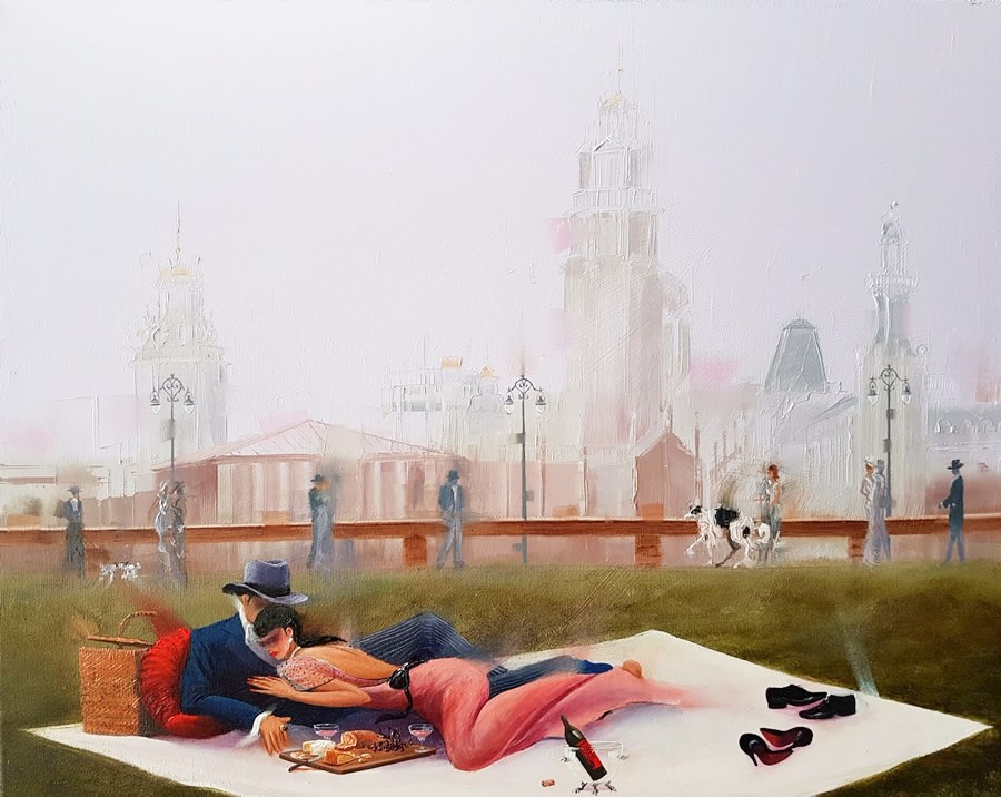 Kamiar Gajoum Barcelona Picnic Original Oil Painting 16X20