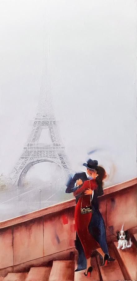 Kamiar Gajoum French Kiss Original Oil Painting 20x10