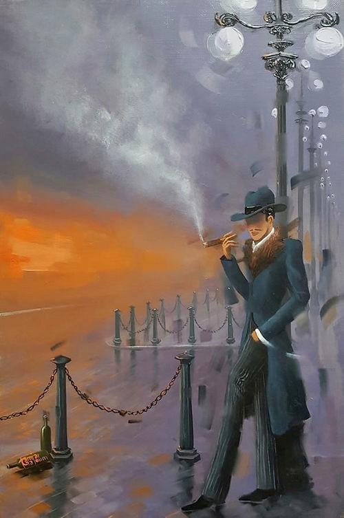 Kamiar Gajoum Gastown Cigar Original Oil Painting16.5x10.5
