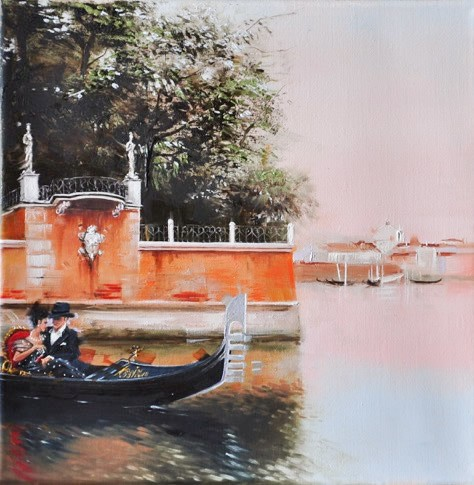 Kamiar Gajoum Gondola Ride Original Oil Painting 12X12