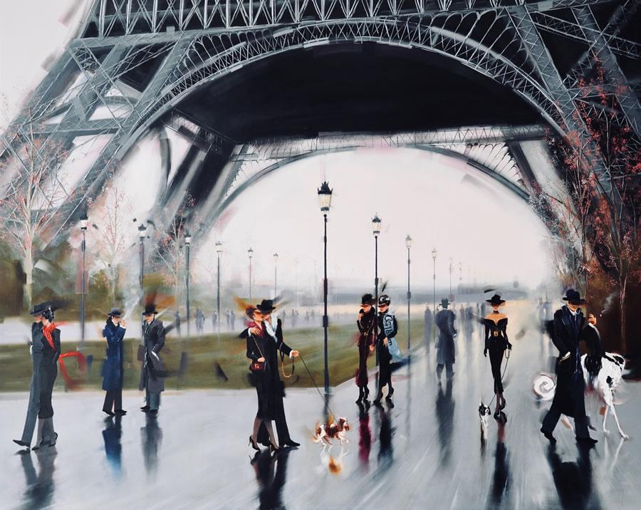 Kamiar+Gajoum J'aime Paris Original Oil Painting 48X60