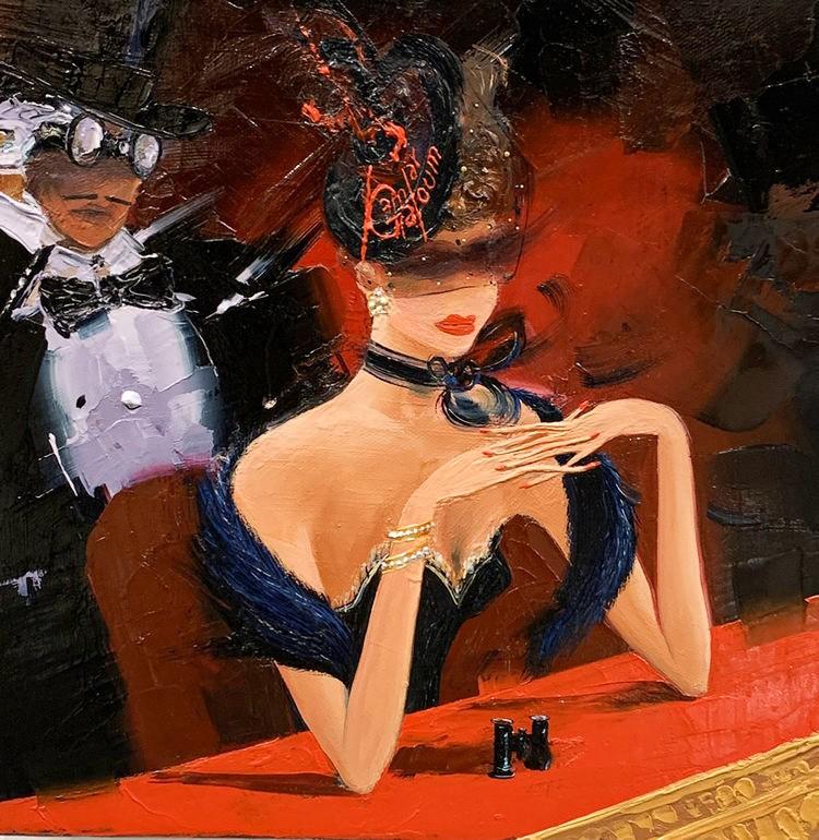 Kamiar Gajoum The Opera Box Original Oil Painting 12X12