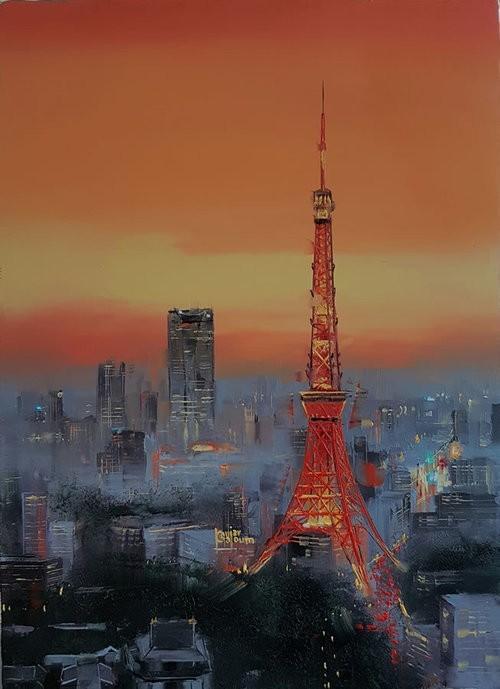 Kamiar Gajoum Tokyo Tower Original Oil 9.5X13