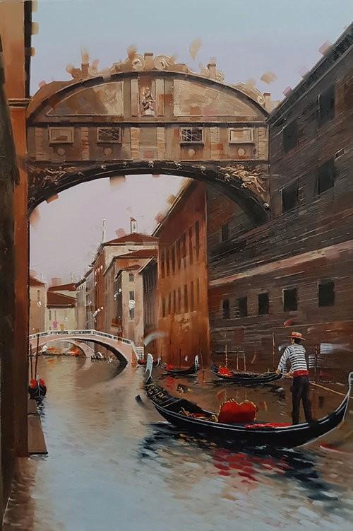 Kamiar+Gajoum Venetian Canal II Original Oil 10.5X16.5