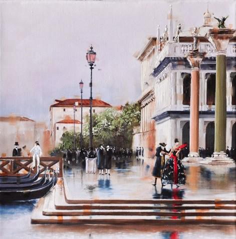 Kamiar Gajoum Venetian CarnivalII Original Oil Painting 12X12
