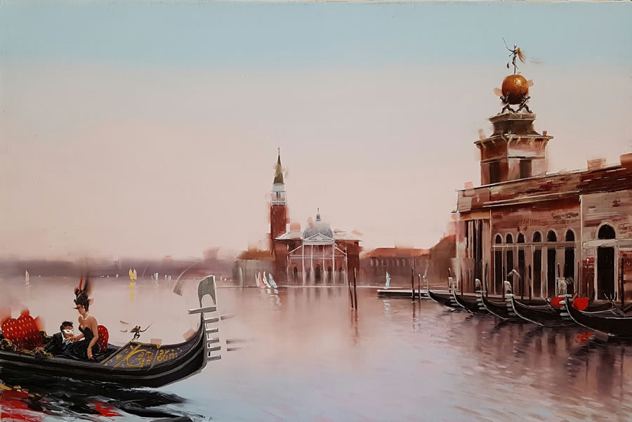 Kamiar Gajoum Venezia Date Original Oil 10.5X16.5