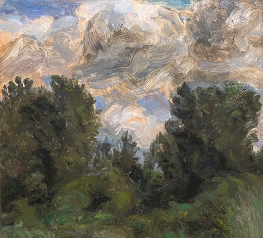 Liza Visagie A Study of Clouds Original Oil Painting 10X11