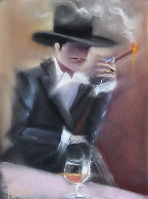 Contemporary Canadian Painter Kamiar Gajoum Monsieur Avec Cigare18X22 Original Pastel