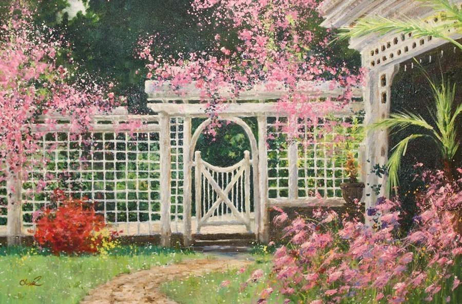 Olivia+Zeng.+Backyard+Flowers.+Original+Oil.18X24