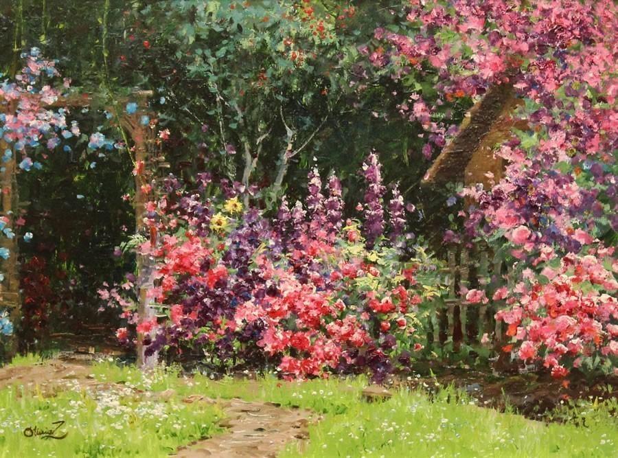 Olivia+Zeng.+SUmmer+Garden.+Original+Oil.24X36