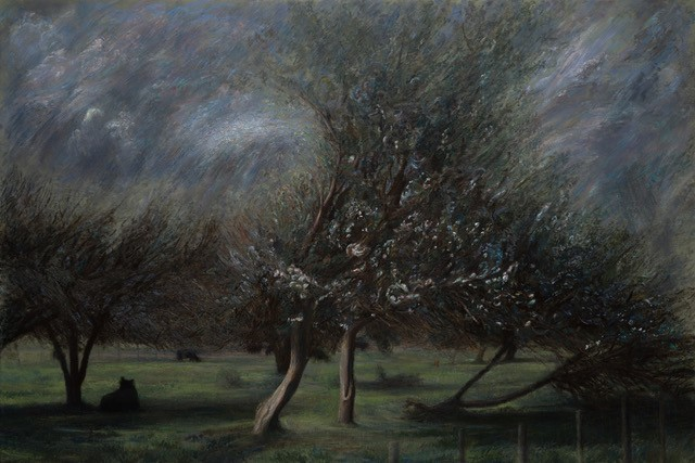 Paul Chizik Dark Silhouettes in Orchard Grove Original Oil 52x79
