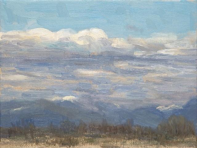 Paul Chizik Shifting Cloud Over A Northern Landscape Original Oil 9X12
