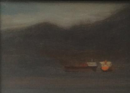 Paul Chizik Two Ships Original Oil 5X6.5
