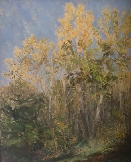 Paul Chizki Open Forest Blue Yellow & Green Original Oil 20x15