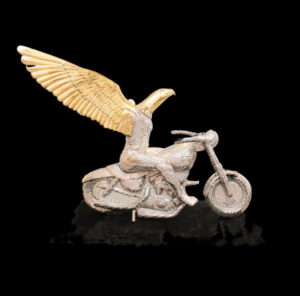 Contemporary Canadian Sculptor Eagle on Motorcycle Metal and Bronze sculpture