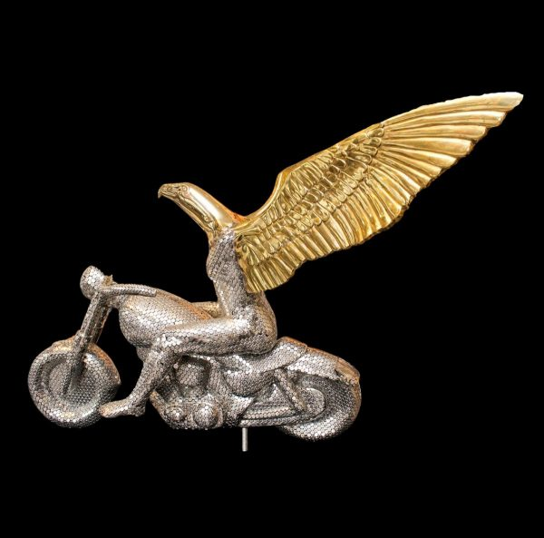 Eagle on Motorcycle Metal and Bronze sculpture