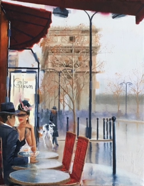 Contemporary Canadian Painter Kamiar Gajoum Romantic View 6X8 Original Oil