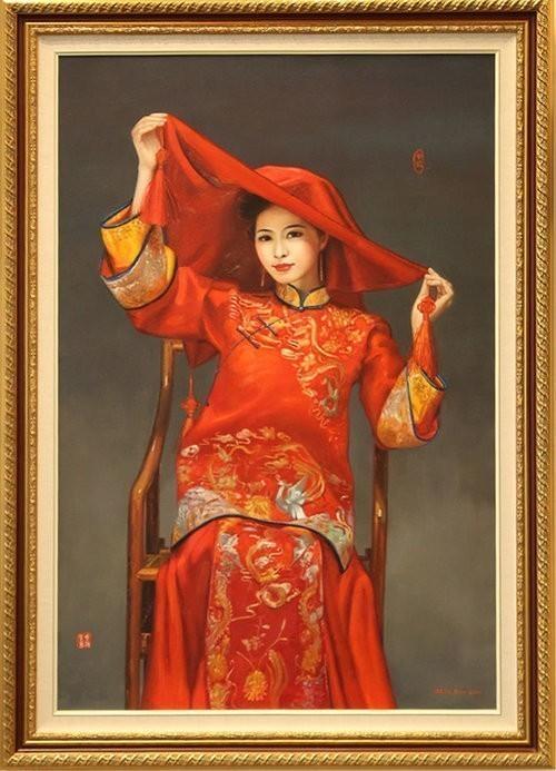 """Cecilia Aisin-Gioro Contemporary Canadian Painter The Bride Original Oil 55x39"""""""