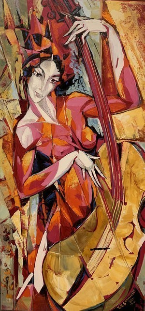 Contemporary Canadian Painter & Sculptor Valeri Sokolovski Cello in Purple Original Oil 36X18