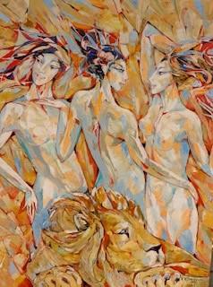 Contemporary Canadian Painter & Sculptor Valeri Sokolovski My Muses Original Oil Painting 40X30