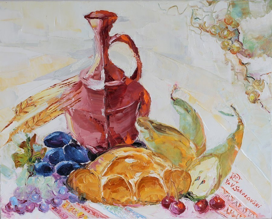 Valeri+Sokolovski.+Naturmort+with+Bread.+Original+Oil.+16X20