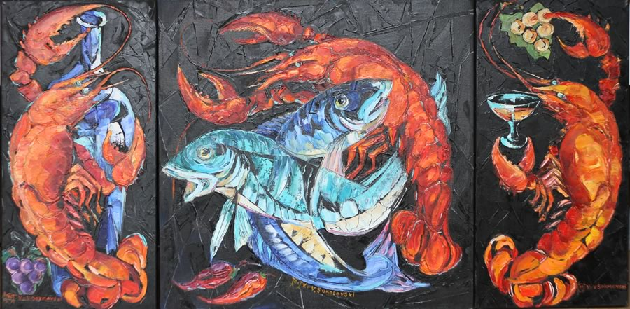 Valeri+Sokolovski.+Original+Oil.+Still+life+lobster+triptych+.24X12+24X24+24X12