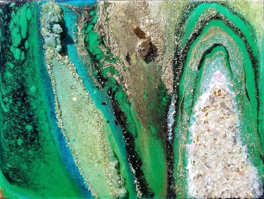 Holly Bromley Emerald City Original Mixed Media 9x12