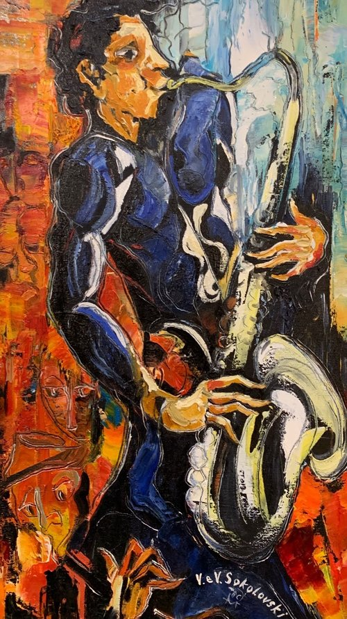 Contemporary Canadian Painter & Sculptor Valeri Sokolovski Sax Original Oil Painting 24x12